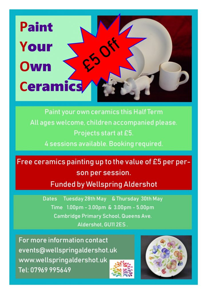 Paint your own ceramics session details and information